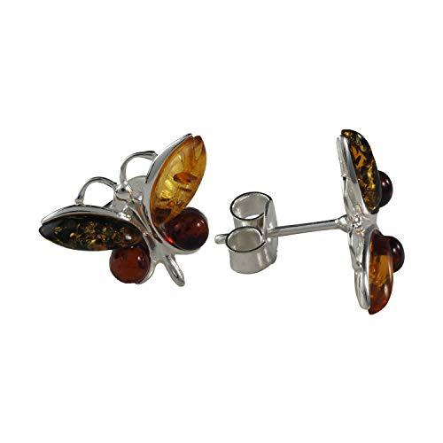 Pendientes de plata esterlina y ámbar báltico multicolor'Mariposa'