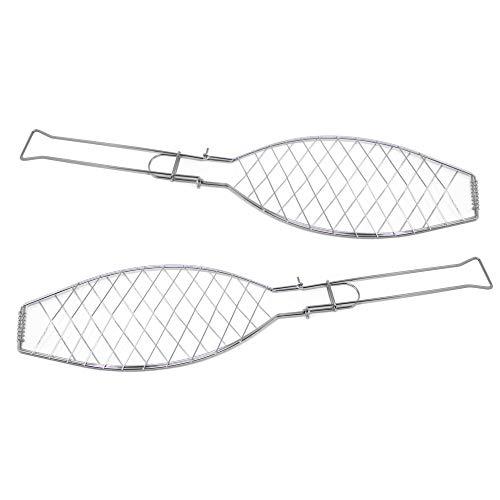 ToCis Big BBQ 2X Fischgriller (Silber) mit Klappgriff | Große Fischbräter aus Metall (57 x 13 cm)