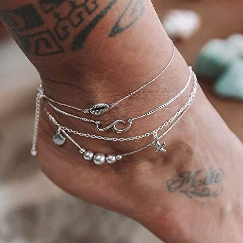 Edary Boho gelaagde schelp enkel zilver zeester hanger enkel armband oceaan golven sieraden voor vrouwen en meisjes