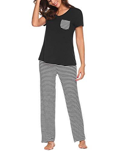 Uni-Wert Pijamas Mujer De Dos Piezas Algodon Ropa de Dormir Elegante t-Shirt y Pantalon Largos
