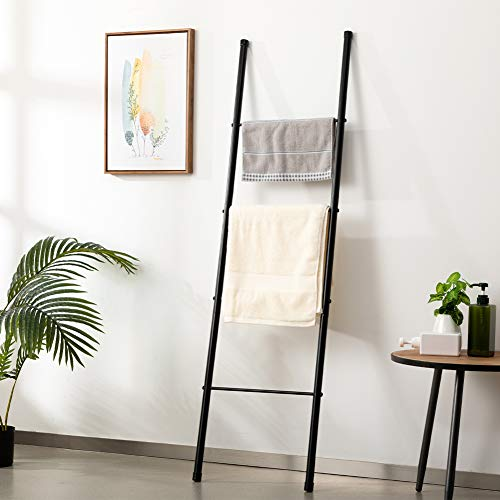 Marble Field 4-Layer Metal Towel Ladder, Standing Towel Rack, Wall-Leaning Display Stand, Bathroom Decoration, Black