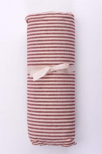 HomeLife | Tagesdecke Bettüberwurf | gestreift in Bordeauxrot | 160 x 280 cm | weiche Mehrzweck Baumwolldecke und Bettdecke für Einzelbett | schöner Sofabezug und Couch Überzug