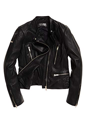 Superdry Lederjacke Damen LYLA Leather Racer Black, Größe:M