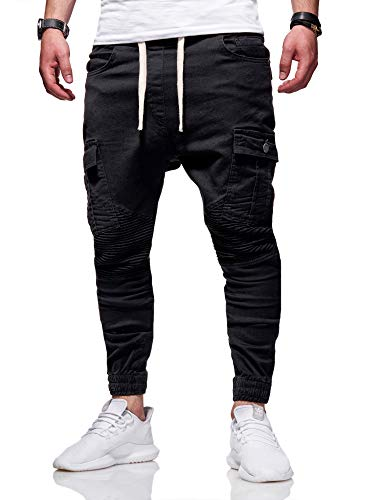 behype. Herren Cargo Biker Jogger-Jeans Hose mit Taschen Slim-Fit S-XXL 80-6722 Schwarz L