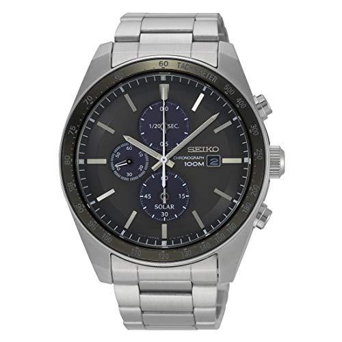 Seiko Solar Reloj para Hombre Analógico de Solar con Brazalete de Acero Inoxidable SSC715P1