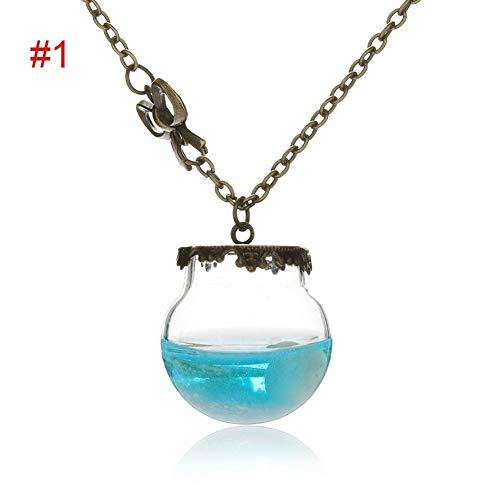 LUOSI 1 Pz Mare Oceano Glass Desiderio Bottiglia Pendant Tears Gioielli Shell della Stella Collana di Modo dell'Annata for i Regali delle Donne della Ragazza Regalo (Metal Color : 1)