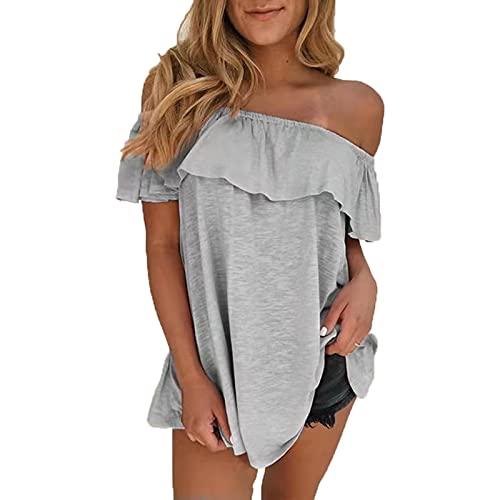 SLYZ Blusas con Cuello De Una Línea De Moda De Verano para Mujeres Europeas Y Americanas, Camisetas De Manga Corta, Blusas para Mujeres