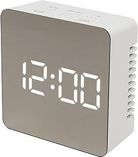 テラスLEDミラークロックS 置き時計 置時計 デジタル デジタル時計 LED アラーム スヌーズ 温度 ナイトモード シンプル USB 乾電池 MEC-17