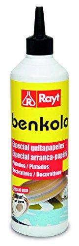 Rayt 496-07 Benkola Quitapapeles: Producto para retirar Pintados y Decorativos. Diluir dependiendo del Tipo de Papel: 5 a 10 litros de Agua por Botella, 500gr