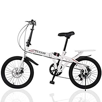 20-inch Foldable Lightweight Bicycle 7 Speed Leisure City Folding Mini Compact Bike with Back Seat Urban Commuters City Mountain Bike White