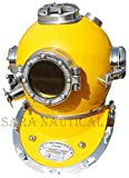 "Calvin Brass Diving Helmet Divers US Navy Mark V Antique Vintage Solid 18"" Scuba Full 18"" Size Marine Sea Scuba | Nautical Deep Sea Diving Helmet | Divers Helmet | Antique Maritime Brass Diving Helmet"