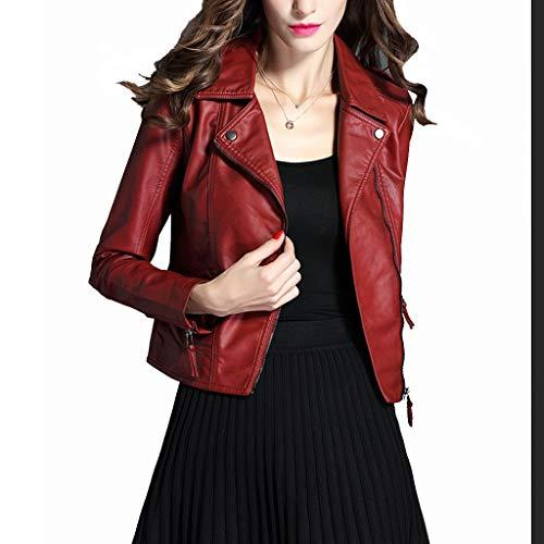 Cazadora Moto Mujer,Chaqueta De Cuero Pequeña De La Motocicleta Salvaje De La Moda De Las Señoras, Chaqueta De Cuero Delgada Corta, Chaqueta De Cuero De PU (Color : Red-L)