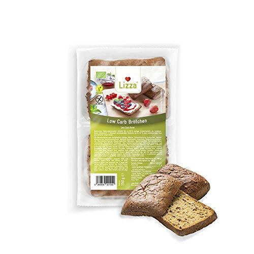 Lizza Low Carb Aufback-Brötchen | 83% weniger Kohlenhydrate | Bio. Glutenfrei. Vegan | Protein- & Ballaststoffreich | Keto- & Diabetikerfreundlich | Zuckerarm | 8 Brötchen (Vorrat für 1 Woche)