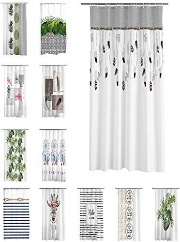 one-home Duschvorhang 180x200 cm wasserabweisend Badewannen Vorhang inklusive 12 Ringe, Farbe:Federn braun grau