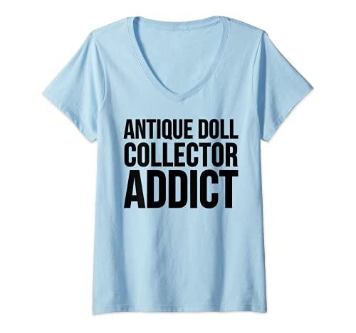 Donna Antico Addict - Divertente collezione di bambole Maglietta con Collo a V