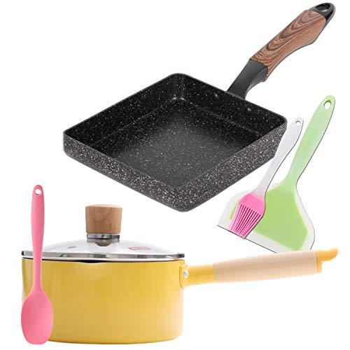 ROCKURWOK Omelette Tamagoyaki Pan & Small Saucepan wth 3 Silicone Spatulas