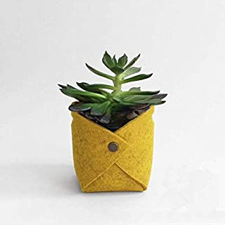 Fssh-mlx New Letters Print Felt Flower Pots Home Desktop Flowerpot for Flower/Green Plant Light Gray/Khaki (color : Yellow)