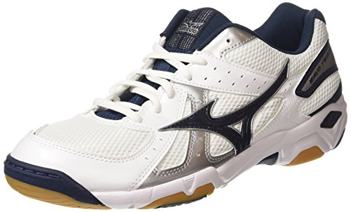 MizunoWave Twister 4, Zapatillas de Voleibol para Hombre, Blanco - Blanco (Blanco/dress Azul/Plata), 8.5 UK 42 1/2 EU