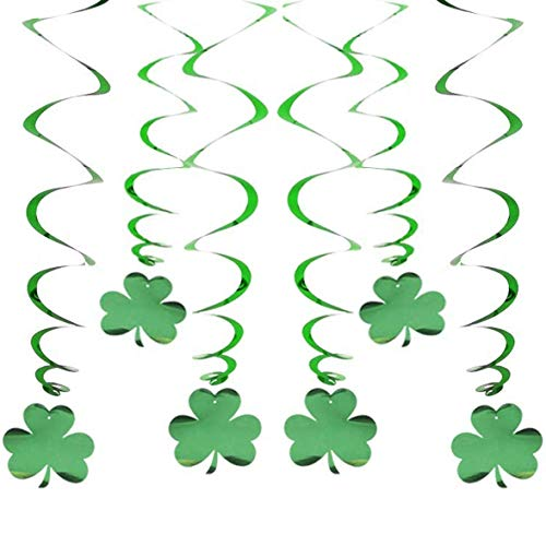St Patrick Day Hanging Shamrock Swirls Decorations6 PCs Clover Swirls for Home Ceiling Window Wall Decor Great Lucky Irish Green Party Supplies