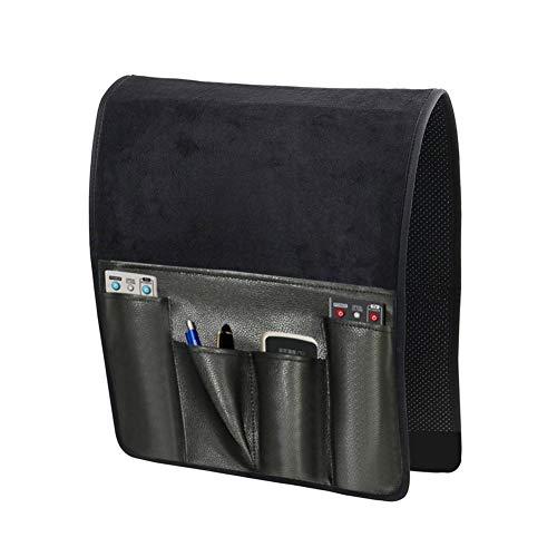 No-Slip Leather Sofa Couch Fernbedienungsinhaber, Stuhl Armlehne Caddy Pocket Storage Organizer Tasche Mit 7 Taschen Für Handy Tablet Notizblock Buchmagazine,Schwarz