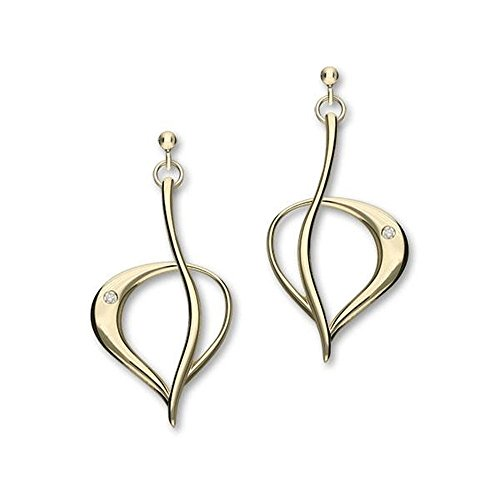 Sterling Silver Traditional Contemporary Modern Leah Design Gold Pair of Earrings With Diamond Stone