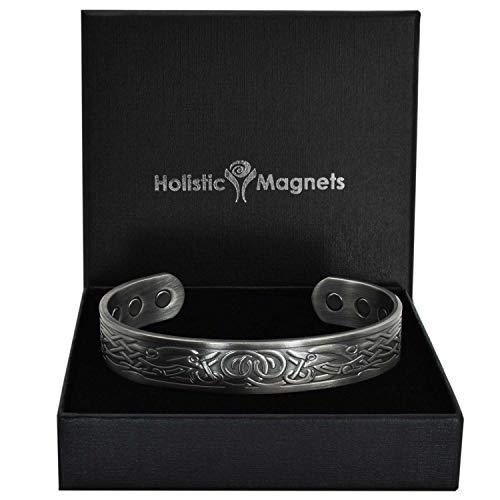 Holistic Magnets® Wikinger Kupfer Armband Groß (Antik-Silber) Herren Magnetarmbänder für Arthritis Originelle Geschenke für Männer Magnetarmband +Geschenkbox-VGP (L: Handgelenk 19-21,5cm)