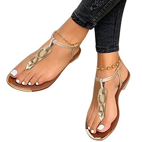 UOCUFY Sandals for Women Slip-On Bowknot Flat Beach Open Toe Breathable Sandals Thick Bottom Heel Sandals Beach Shoes