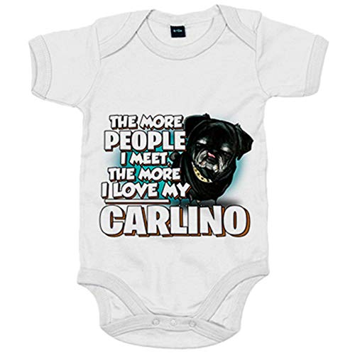 Body bebé I love my Carlino Black raza perro - Blanco, Talla única 12 meses