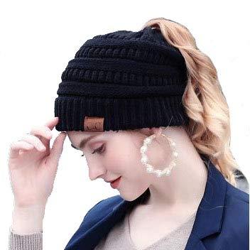 Alexvyan New Women's Snow Proof Woolen Cap ponytail Warm Winter Cap Soft Cap