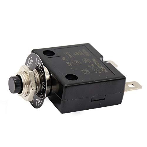 Semoic 1X 8A Disyuntor 12V / 24V Botón Reiniciable Termostato Interruptor De Montaje En Panel con Tapa Impermeable
