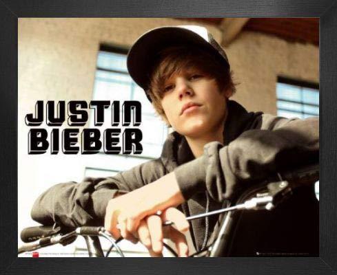 1art1 Justin Bieber Póster Mini con Marco (Madera DM) - Bike, One Time (50 x 40cm)