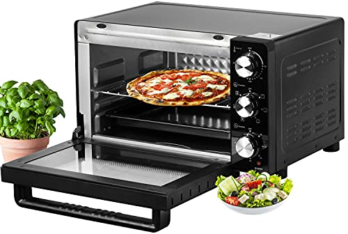 Mini Backofen 21 Liter   1200 Watt   Pizzaofen   Innenbeleuchtung   Inkl. Backblech und Grillrost   Minibackofen   Kleiner Backofen   Mini Oven   60 min. Timer (21 Liter Silber)