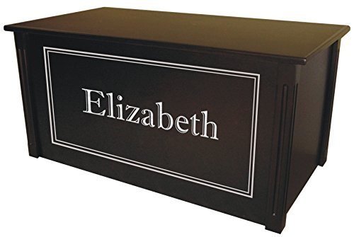 Wood Toy Box, Large Espresso Toy Chest, Personalized Shadow Font, Custom Options (Standard Base - Silver Lettering)