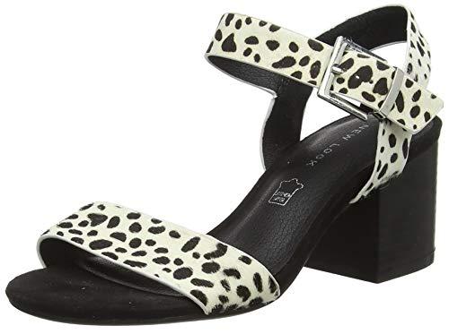New Look Peony, Zapatos de tacón con Punta Abierta para Mujer, Blanco (White Pattern 19), 40 EU