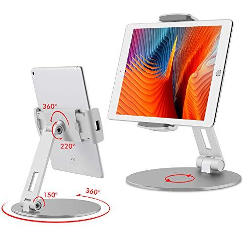 {Viozon タブレット スタンド と ホルダー 調整可能 範囲 と ハイト 付 アルミ スタン ド iPad/iPad Pro/iPad Mini/携帯電話/Kindle デス ク ホルダー フィット 3.5-13インチ ⽤ 360° スイベル 調整可能 ベース シルバー}