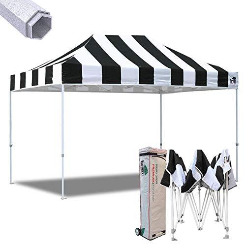 Eurmax 10x15 Ft Premium Ez Pop up Canopy Instant Shelter Outdoor Party Gazebo Commercial Grade Bonus Roller Bag (Stripe Black White)
