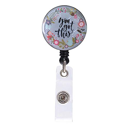 Badge Reel, You Got This Retractable ID Card Badge Holder with Alligator Clip, Name Decorative Badge Reel Clip on Card Holders for Girls Nurse, Students, Teachers, Office Lady