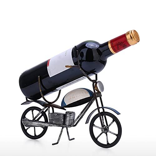 LEADALL Soporte para Botella De Vino, Soporte para Vino con Decoración De Motocicleta Vintage Soporte para Vino De Encimera Adecuado para Decoración del Hogar Almacenamiento De Cocina Bar Bodega