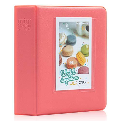 Amimy 64 Tasche Album Fotografico per Fujifilm Instax Mini 7s 8 8+ 9 25 50s 70 90, Polaroid Snap PIC-300, Kodak Mini 3-inch Film con Adesivi Colorati (Rosso)
