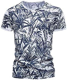 Wanxiaoyyyinnsdx Mens Henley Short Sleeve, Men Wild Printing Plus Size T Shirt Summer Round Collared Top Tees Short Sleeve...