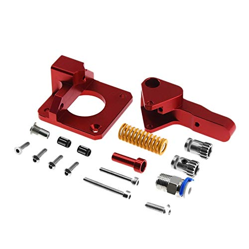 MAIO Cr10 Pro Aluminum Upgrade Dual Gear Extruder Kit Fit For Cr10S Pro Reprap Prusa I3 1.75Mm Drive Feed Double Pulley Extruder service (Color : Red)