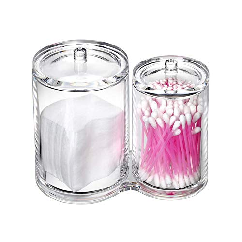 VANCIC Cotton Ball Holder Swab Qtips Container Makeup Organizer Brush Pads Cosmetic Case Apothecary Jar - Multipurpose Storage Box - Round Clear Acrylic