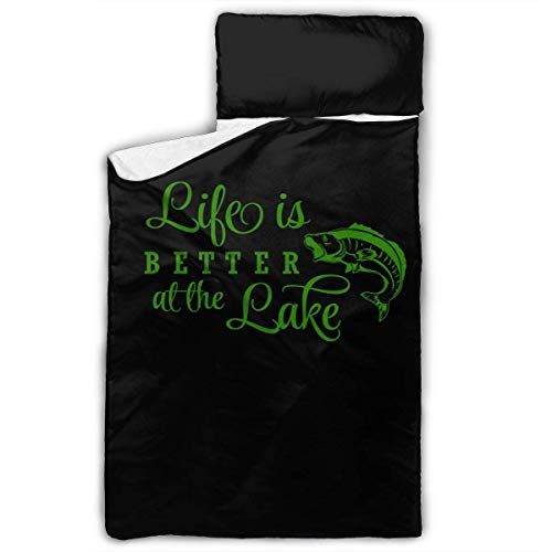 Life is Better at The Lake Kids Toddler Nap Mat with Pillow - Includes Pillow & Fleece Blanket for Boys and Girls Napping at Daycare, Preschool, Or Kindergarten