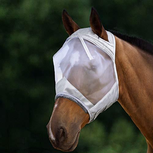 Harrison Howard CareMaster Maschera Anti-Mosche per Cavallo UV Protezione Argento (L; Full...