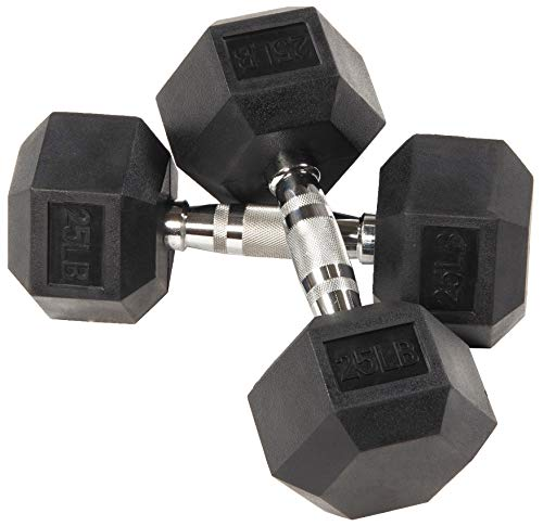 BalanceFrom Rubber Encased Hex Dumbbell in Pairs, Singles or Set with Rack, 25LB Pair