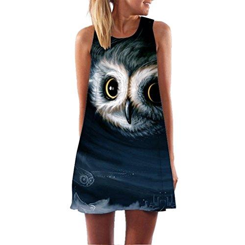 TUDUZ Damen Sommer Vintage Boho Ärmelloses Sommerstrand Rundhals Rock Partykleid Minikleid Blumenkleid T-Shirt Tops Kleider