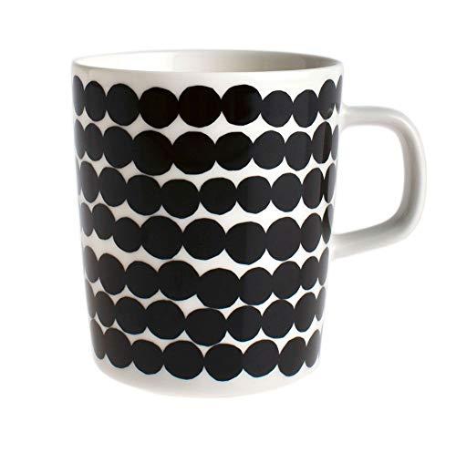 Marimekko - Oiva/Siirtolapuutarha - Tasse - Weiß/Schwarz - Ø8xH9,5cm - 2,5 dl
