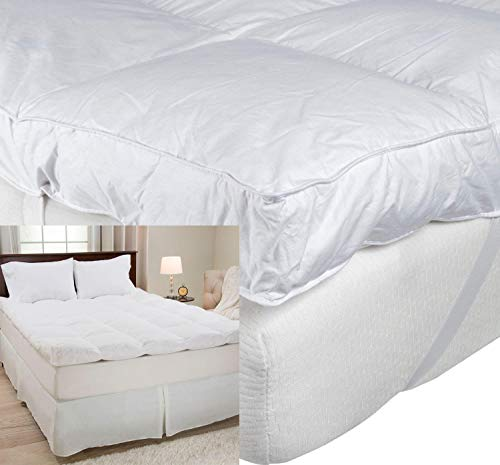 4' Thick Supersoft Heavy Fill Microfibre Mattress Topper Soft Hotel Quality 10cm 4 Inch Microfiber Toppers (Double)