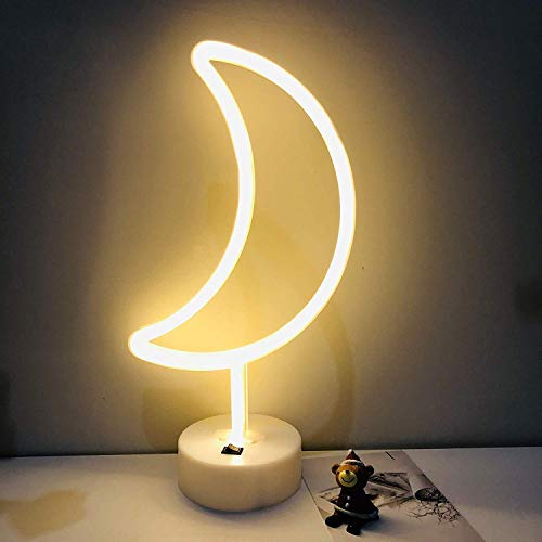 DANIDEER Moon Led Neon Sign Art Decorative Lights Table Decoration Neon Lamp with Base for Kids boy and Girl Bedroom Unique Gift for Any Occasion (Warm White)