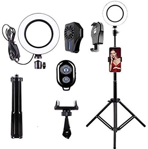 FACAZ Anillo de luz LED USB con Soporte y Soporte para teléfono, Enfriador USB para teléfono (radiador de teléfono móvil) Lámpara de Flash para fotografía, con Soporte para trípode